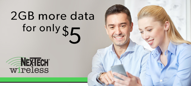 Upgrade 2GB data for $5