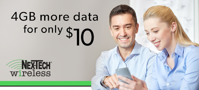 Add 4 gb of data for 10 dollars