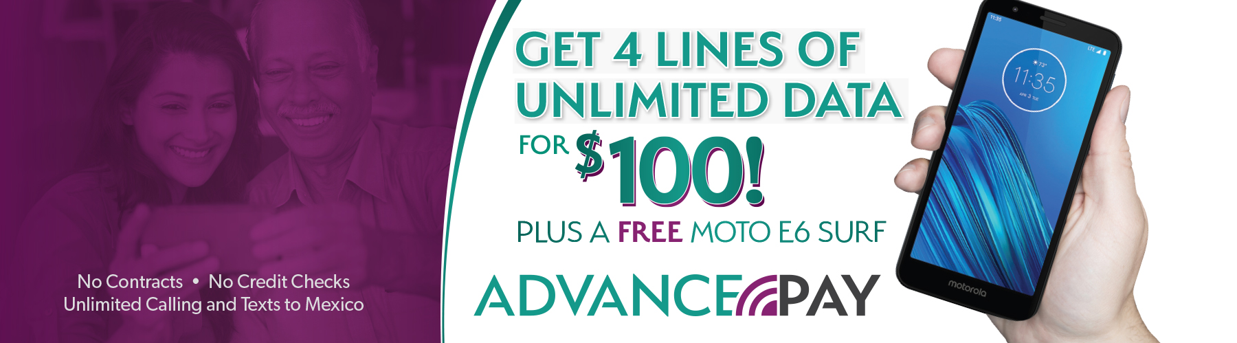 Get 4 Lines of Unlimited Data for $100 Plus a FREE Moto E6 Surf!